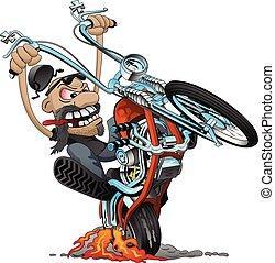 loucos, antigas, escola, ilustração, biker, vetorial, motocicleta, chopper, caricatura