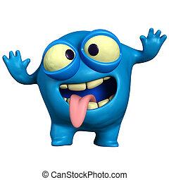 loucos, azul, monstro
