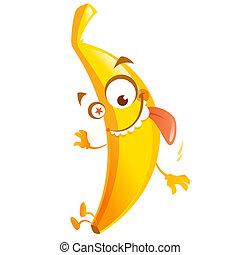 loucos, caricatura, banana amarela, fruta, personagem, ir,...