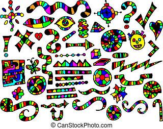 loucos, elementos, desenho, coloridos
