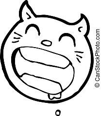 loucos, gato, caricatura, rosto