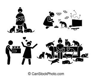 loucos, gato, senhora, figura vara, pictograma, icons.