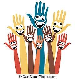 loucos, hands., rosto
