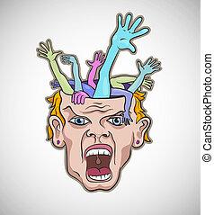 loucos, ilustração, rosto, vetorial, artisticos, homem