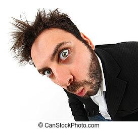 loucos, jovem, homem negócios, expressão facial