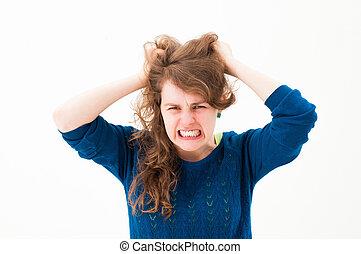 loucos, mulher, fazendo uma face