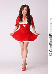 loucos, mulher, traje, excitado, xmas, vermelho