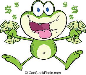 loucos, pular, verde, dinheiro, rã