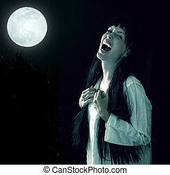 loucos, sangrento, assustador, vampiro, menina, com, fangs