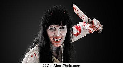 loucos, sangrento, assustador, zombie, menina, com, açougueiro, cleaver