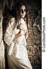 loucos, scene:, moppet, boneca, horror, mãos, menina,...