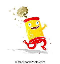 loucos, soda, caricatura, lata