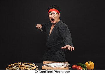 loucos, sushi, caratê, shouting, preparar, homem