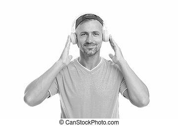 loud., ハンサム, entertainment., headset., 音楽, ウエア, それ, 聞きなさい, technology., 生きている, ステレオ, white., 楽しみ, 隔離された, 成長した, 新しい, 人, ヘッドホン, ファッション, 聞きなさい, 生活, 人
