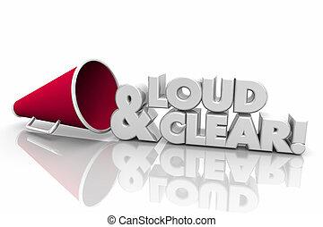 Loud and Clear Bullhorn Megaphone Words 3d Illustration