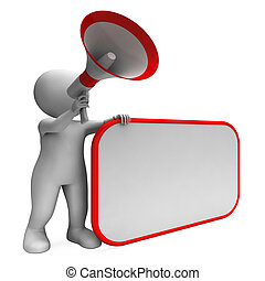 Loud Hailer And Blank Placard Showing Copy Space Message Or ...