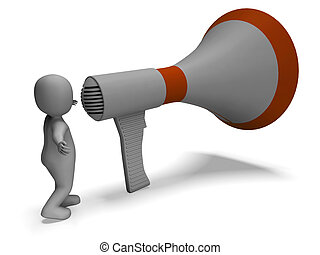 Loud Hailer Character Showing Announcing Explaining And Megaphone