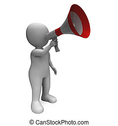 Loud Hailer Character Showing Broadcasting Proclaim And Megaphone