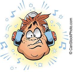 Loud Headphones - Man Wearing Headphones That Are Too Loud