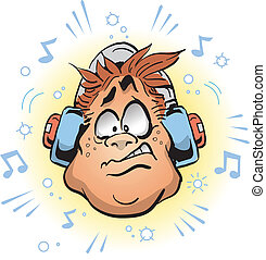 Man Wearing Headphones That Are Too Loud