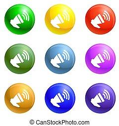 Loud megaphone icons set