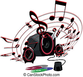 loud music - speaker with speakers at full volume