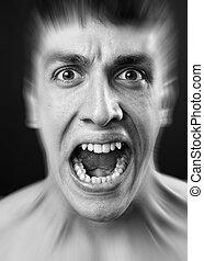 Loud scream of scared frighten man