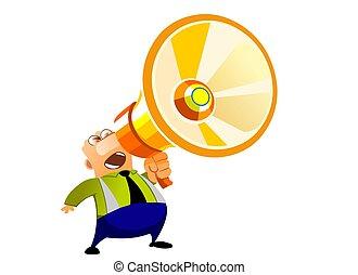 Loud Speaker - Illustration of a businessman shouting at a...