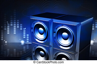Loud speaker set - Digital illustration of a loud speaker...