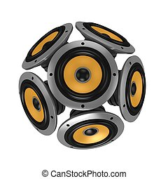 loud speakers forming sphere isolated over white