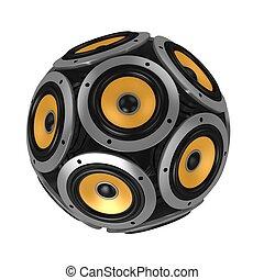 loud speakers forming sphere
