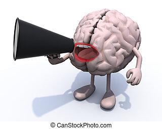 loudhailer, 腕, 脳, 叫びなさい, 足, 口