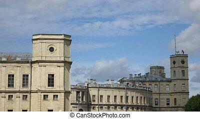 ?louds in the blue sky move over the palace Gatchina,Russia,Time lapse.