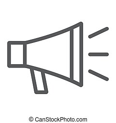 loudspeacker, 10., linearny, znak, próbka, eps, na, kontakt, bullhorn, wektor, grafika, ikona, kreska, megafon, białe tło