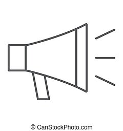 Loudspeacker thin line icon, contact us and bullhorn, megaphone sign, vector graphics, a linear pattern on a white background, eps 10.