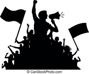 loudspeaker., árnykép, tolong, emberek, vektor, beszélő, zászlók, ember
