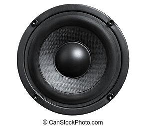 Close up of audio black loudspeaker isolated white