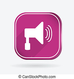 loudspeaker. Color square icon