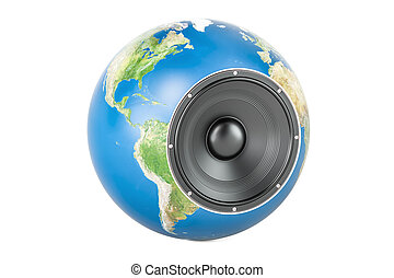 loudspeaker., concept, globe global, rendre, la terre, musical, 3d