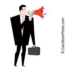 loudspeaker., donner, boss., homme affaires, porte voix, ordres