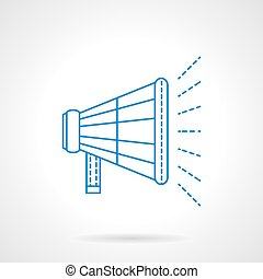 Loudspeaker flat blue line vector icon