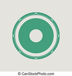 Loudspeaker icon. Gray background with green. Vector...