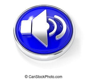 Loudspeaker icon on glossy blue round button