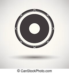 Loudspeaker icon on gray background, round shadow. Vector...