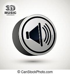 Loudspeaker icon, vector 3d design element.