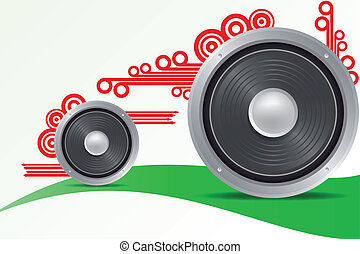 Loudspeaker - Illustration of loudspeaker with arrow and...