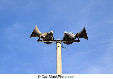 loudspeaker in the blue sky