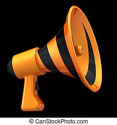 loudspeaker., kommunikation, abbildung, blog, nachrichten, megaphon, 3d