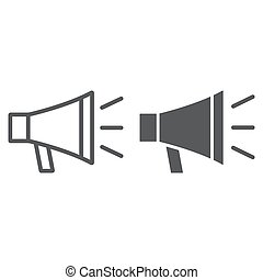 Loudspeaker line and glyph icon, contact us and bullhorn, megaphone sign, vector graphics, a linear pattern on a white background, eps 10.