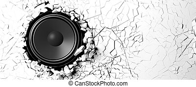 Loudspeaker on a white wall background. 3d illustration